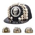 Estilo punk rock hip hop cap lantejoulas artesanal rebite crânio snapback tampas das mulheres dos homens de spike studs botões chapéu ajustável a1