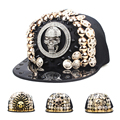 Punk Style Rock Hip Hop Cap Sequined Handmade Rivet Skull Snapback Caps Men Women Spike Studs Buttons Adjustable Hat A1
