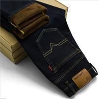 2017 Fashion Hot Sale Mens Hiver Stretch Straight Fleece Jeans Chaud Polaire Haute Denim Biker Jean