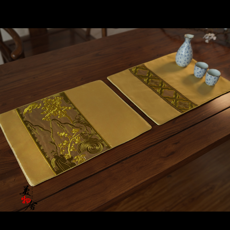 Freeshipping Gold Landscape Luxury Embroidery Heat Insulation Dining Table Placemat Disc ...