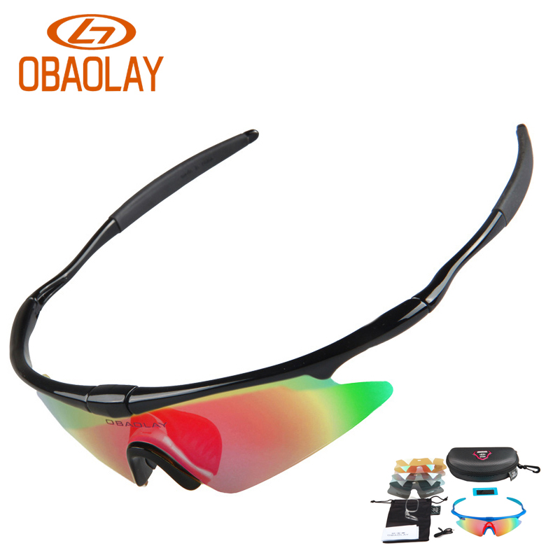 Obaolay Polarized font b Sports b font Men Sunglasses Road Cycling Glasses Mountain Bike Bicycle Riding