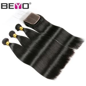 Image 2 - Beyo הודי ישר שיער חבילות עם סגירת 3 חבילות עם סגירת ללא רמי שיער טבעי חבילות עם סגירת הארכת שיער