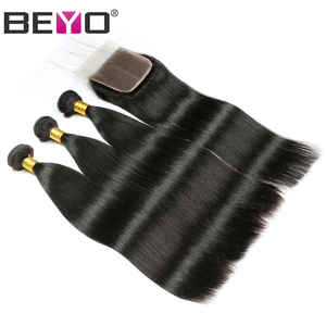 Image 2 - Beyo Indian Straight Hair Bundles With Closure 3 Bundles With Closure Non Remy Human Hair Bundles With Closure Hair Extension
