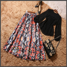 2017 New Summer Fashion Elegant Chiffon Lace Long Sleeves Shirt and Colorful Printed Large Swing Skirt
