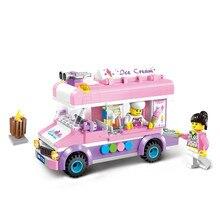 купить sermoido 213pcs City Ice Cream Truck Building Blocks Compatible With Legoings Educational Toys For Children дешево