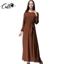 2016 Moda Yeni hanım Yaz Şifon Abaya Uzun Elbise Giyim Hanım Akşam Parti Müslüman Elbiseler Vestido De Festido 5 renkler