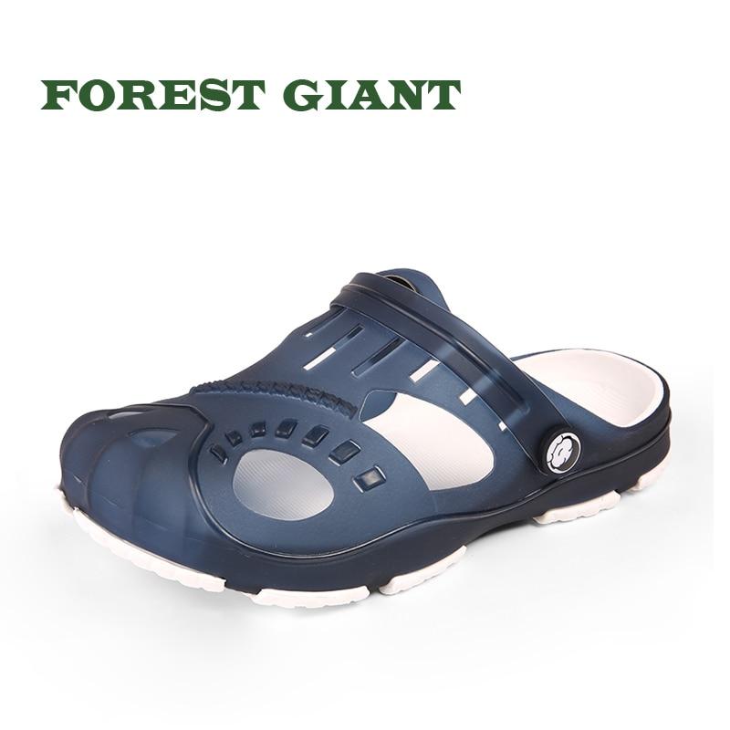 FOREST GIANT New Summer Jelly Shoes Men Beach Sandals Hollow Slippers Men Flip Flops Light Sandalias Outdoor Summer Shoes HC181
