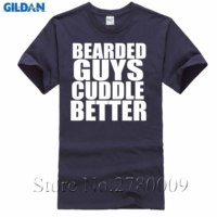 Bearded Guys Cuddle Better Funny T Shirt Cute Boyfriend Valentines Day Gift Tee High Quality Casual