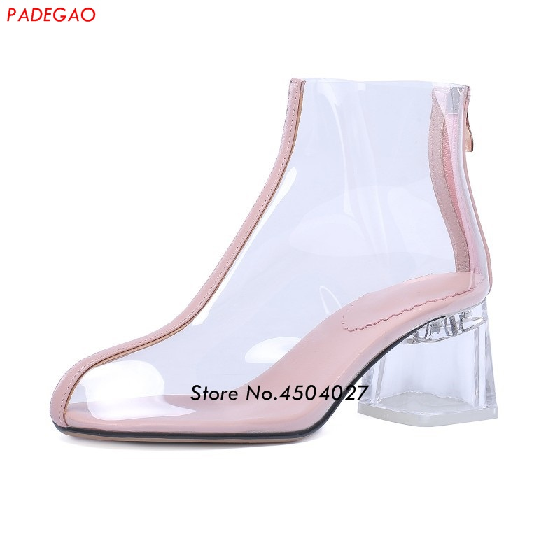 Hot new women PVC ankle boots pointed toe crystal heel transparent women boots clear high heels zipper shoes bling stars printing pvc transparent crystal heels mid calf boots for women pointed toe back zipper thick high heel summer boots