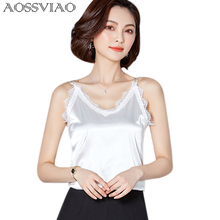 AOSSVIAO 2019 Summer Black Lace Crop Top Mujer Silk Sexy Bustier Tank Women Tops White Camisole Cropped Blusa De Seda