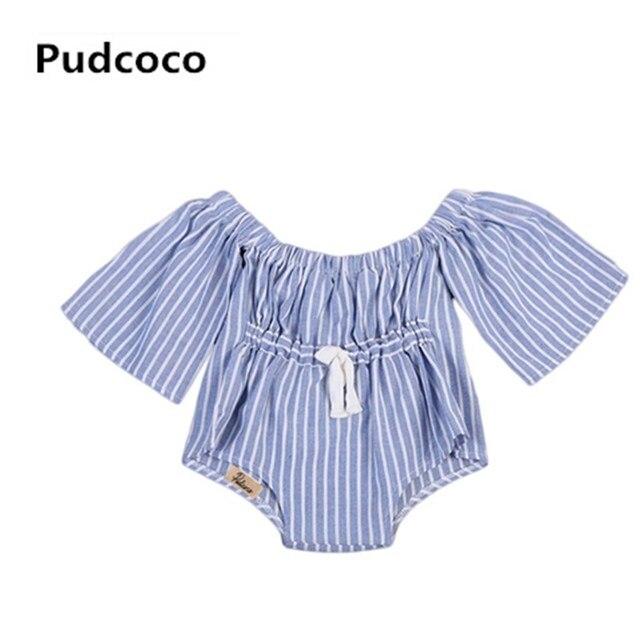 75f658810 Infant Toddler Baby Girls Kids Cotton Striped Off Shoulder Short ...