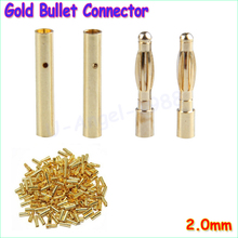 40pcs/lot 2.0mm 2mm 2.0 Gold Bullet Connector plug Lipo RC battery Plugs (20 pair)
