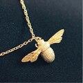 Подлинная стерлингового серебра 925 ювелирных украшений милые пчелы животное ожерелье ожерелья и подвески для женщин гипоаллергенное Kolye D175