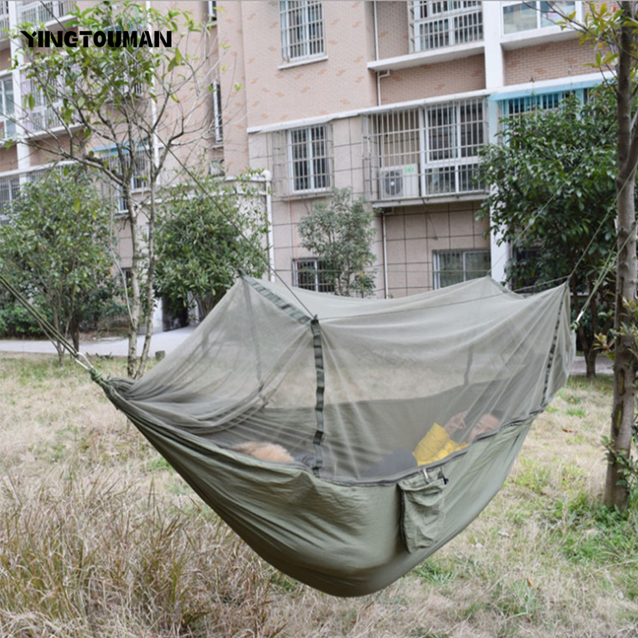 Sleeping Bags Yingtouman Sleeping Bed Parachute Nylon Outdoor Camping Hammocks Portable Hammock Swing Bed With Mosquito Net Sleeping Hammock Camp Sleeping Gear