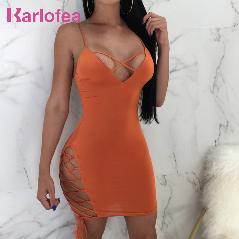 Karlofea Summer Fashion Sexy Club Mini Dress Cross V Neck Short Sundress Wrap Bandage New Party Orange Bodycon Dresses For Women
