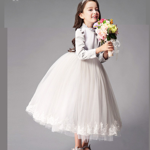 White Gray Birthday Party Princess Dress Girls 11 Years Dress Autumn
