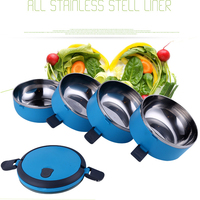 1Set Japanese Students Bento Boxes Heat Portable Four Layer Insulation Bowl Stainless Steel Insulated Lunchbox Frame