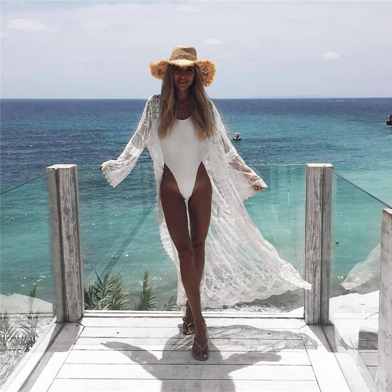 2019 neue Sexy Frauen Lange Strand Kleid Chiffon Strand Strickjacke Bikini Cover Up Wrap Beachwear Perspektive Party Weiß Mesh Kleider