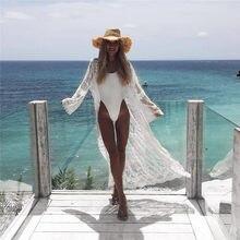 2019 nueva Sexy mujeres playa vestido gasa playa chaqueta Bikini ropa de playa tipo pareo perspectiva fiesta blanca malla de vestidos