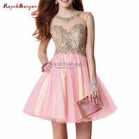 Розовые стразы блёстки короткое платье на выпускной спинки длиной выше колена Тюль Мини Выпускной платье