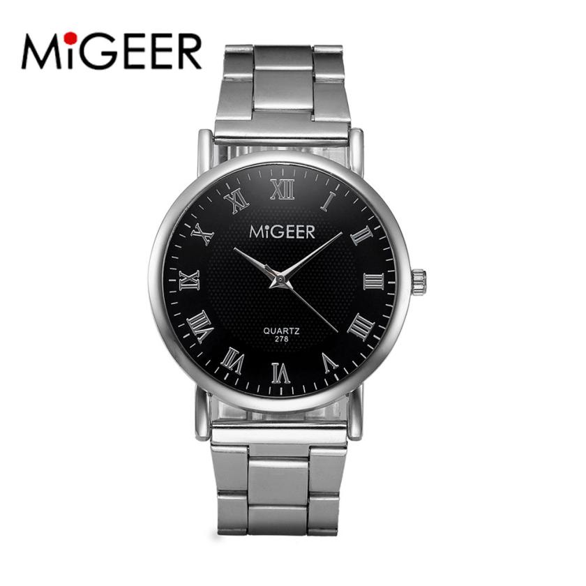 MIGEER Relogio Masculino Luxury Business Wrist Watches Men Top Brand Roman Numerals Stainless Steel Quartz Watch Mens Clock #Zer clock watch women roman numerals quartz gold stainless steel wrist band luxury casual watches relogio feminino high quality