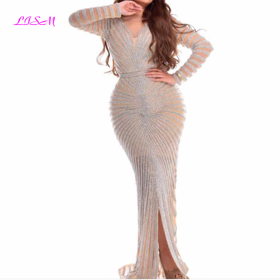LISM Luxurious Sequins Mermaid Evening Dresses Scoop Long Sleeves Prom Dress 2019 Sexy Split Sweep Train Party Gowns robe soiree