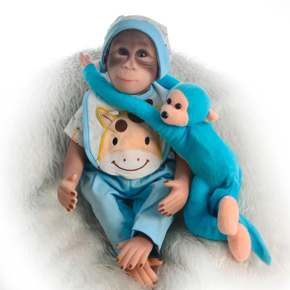46 CM mode Reborn vivant singe poupée tissu corps Silicone réaliste reborn bébé poupée pour enfants cadeaux de noël bricolage avec peluche douce