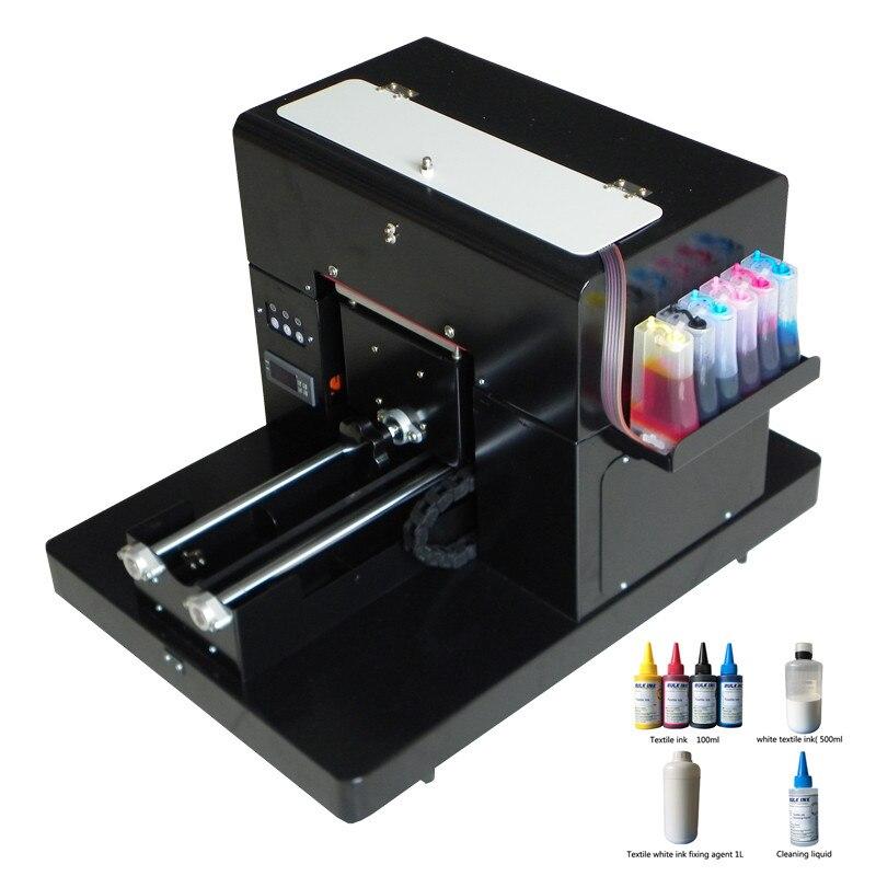 Offre spéciale A4 T machine impression textile A4 taille dtg imprimante à plat machine pour imprimer vêtements T-shirt avec encre textile