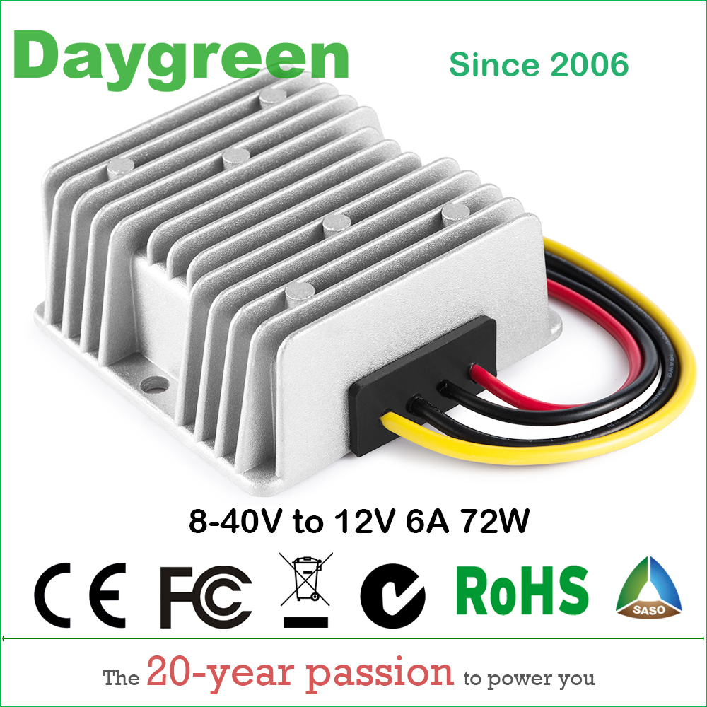 8-40V to 12V 6A DC DC Converter Reducer Regulator Voltage Stabilizer Step-up Down type 72w Daygreen CE 8-40V TO 12V 6AMP
