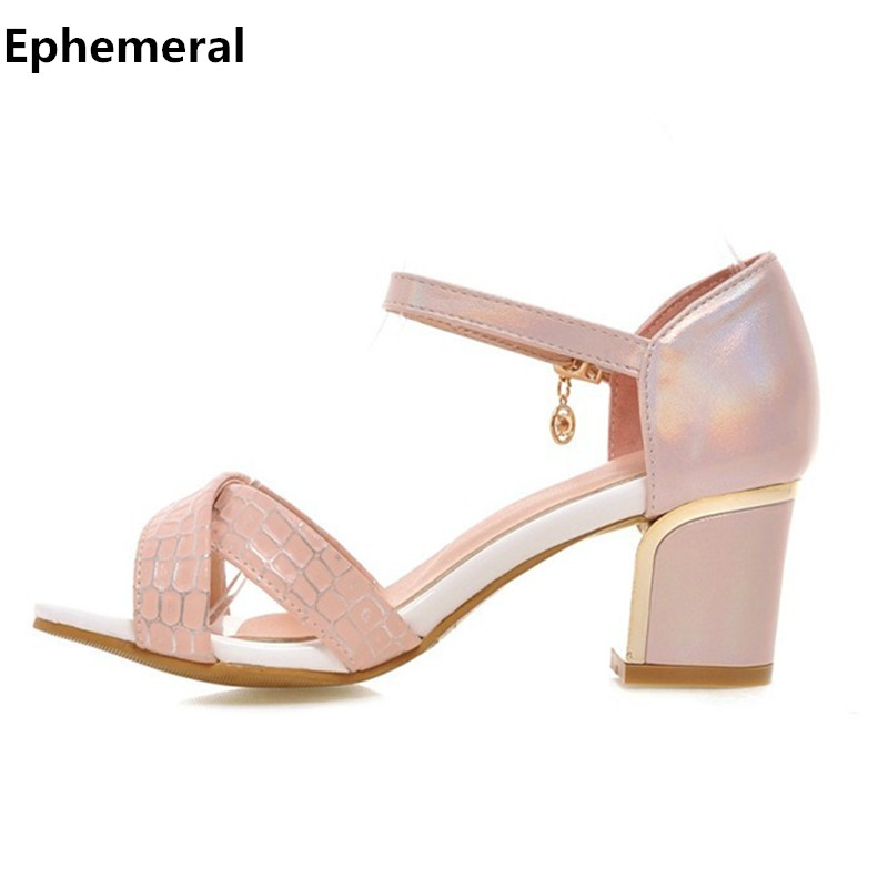 Ladies thick heel open toe sandals with buckle strap for women sandalias mujer 2017 high shoes shoes pink and white plus size 12  ephemeral ladies zip sandals with heels buckle strap open toe summer casual shoes woman spongy insole plus size 11 12 white pink