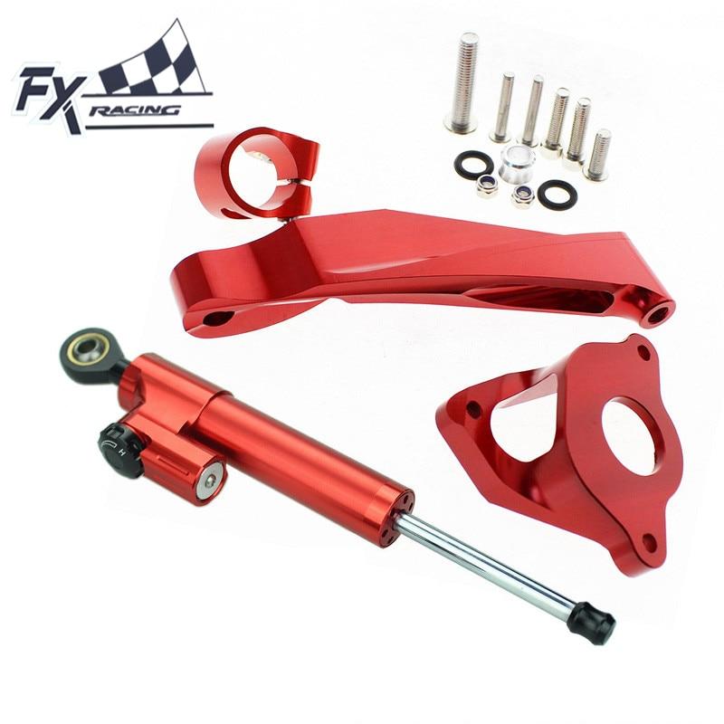 FX Aluminum Motorcycle Steering Stabilizer Damper Mounting Bracket Complete Set For HONDA CBR600RR CBR 600RR 2007-2016 Support fxcnc aluminum steering damper stabilizer bracket mounting support kits fit for honda cbr600 f4i 1999 2004