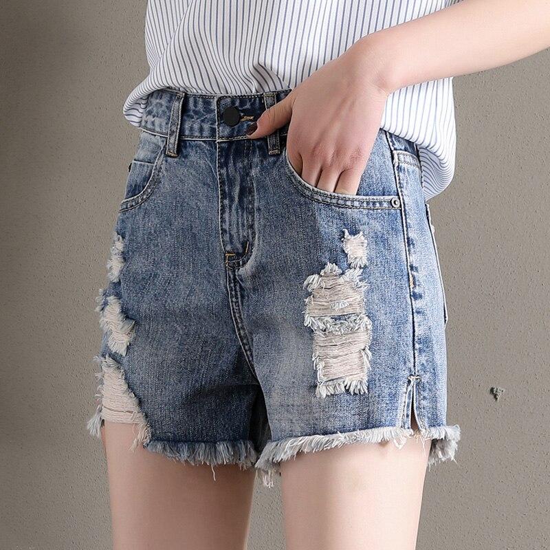 Ladies Short Pant Denim Jeans Grind Front Enzyme Stone Wash Single Button Light Blue