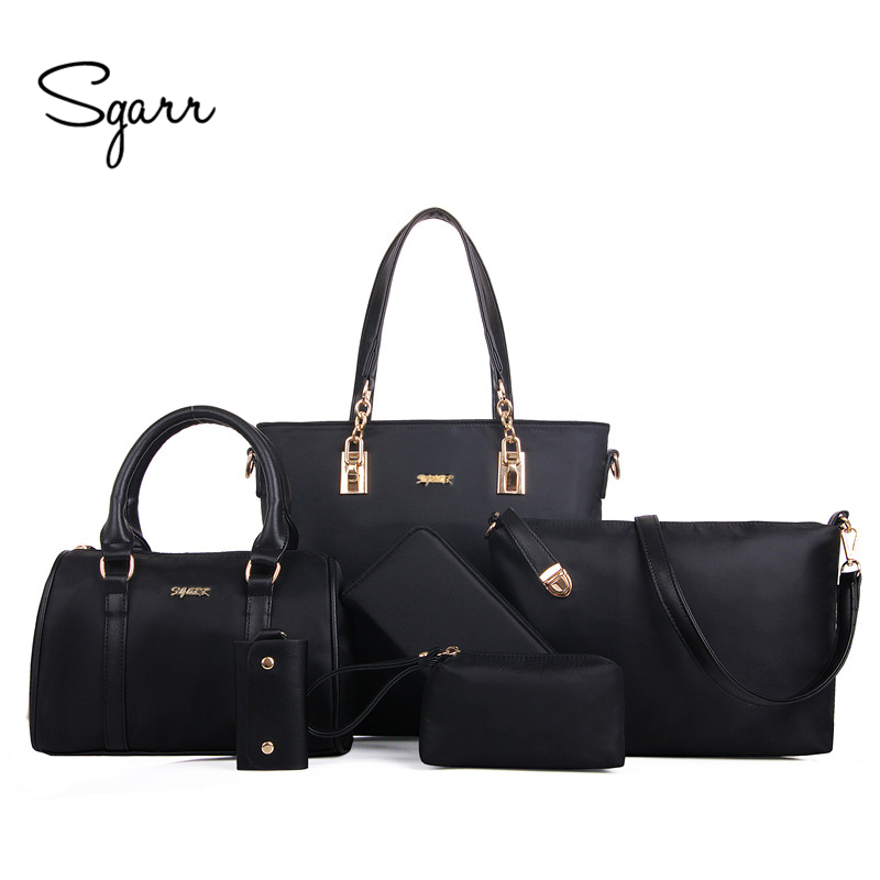 SGARR Luxury Women Handbag Shoulder Bags Fashion Nylon 6 Pieces Sets Composite Bags Large Capacity Tote Bag For Women Clutch miesati luxury 3 sets handbag women composite bag female large capacity tote bag fashion shoulder crossbody bag small purse