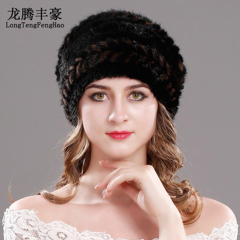Sombreros de punto de piel de visón sombreros de Invierno para mujer gorra de piel Real Natural nueva marca de piel gorro de punto para mujer gorros de piel de visón genuino - 3
