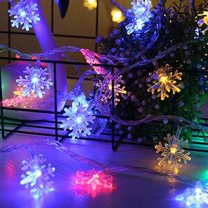 Светодиодный гирлянда для праздника, гирлянда со снежинками, сказочные огни на батарейках, висячие украшения, вечерние украшения для рождественской елки, Декор для дома