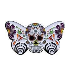 Ornado borboleta esmalte pino açúcar crânio broche flores arte botânica emblema dia dos mortos jóias presente