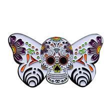 Ornate butterfly enamel pin sugar skull brooch flowers botanical art badge Day of the Dead jewelry gift