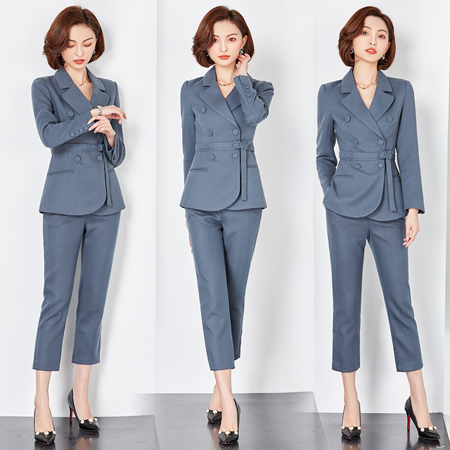 5c5471693be high quality Women Double Breast Blazer Suits Office Lady Sets Two-piece  Work Set Long Sleeve Suit Jacket   Pencil pants Outfits