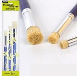 Pebeo okrągła główka szczotka z włosia tkanina/Deco farba wzornik pędzla  znaczek pióro  handmade DIY długopis pigment pigment tekstylny 3 sztuk/zestaw w Pędzle od Artykuły biurowe i szkolne na