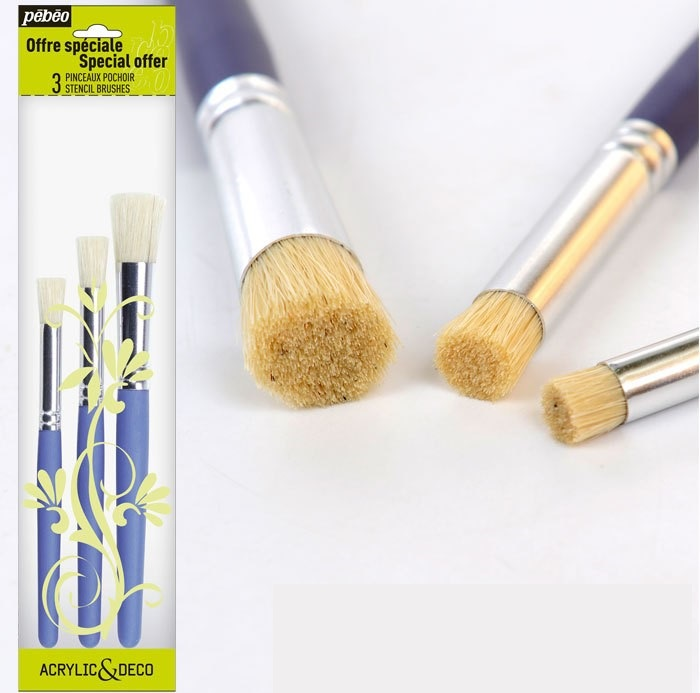 Pebeo Round Head Bristles Brush  Fabric /Deco Paint Stencil Brush,stamp Pen,  Handmade DIY Pen  Textile Pigment Pen 3pcs/set