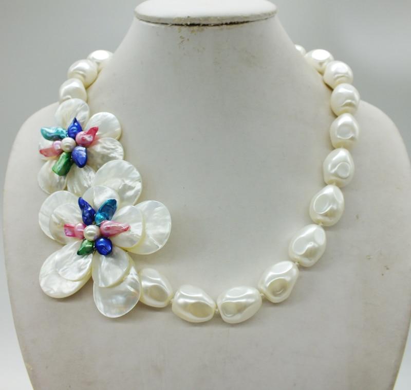Takı ve Aksesuarları'ten Gerdanlık Kolyeler'de Inanılmaz!!! Klasik Beyaz Deniz Kabukları Barok Boncuk, El Örgü Çiçek Kolye'da  Grup 1
