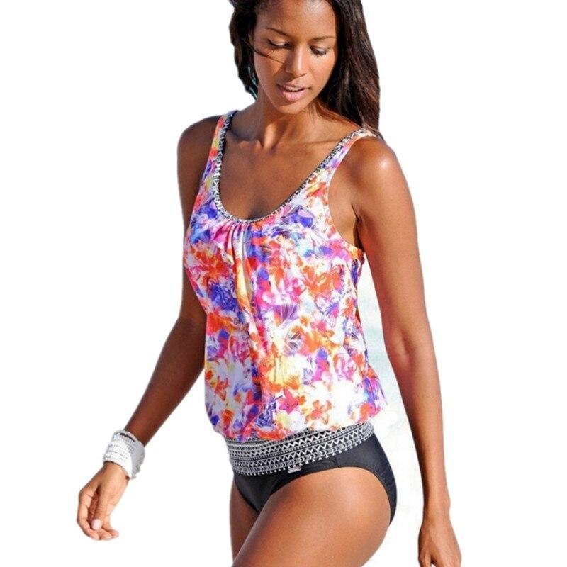 Femmes de Rétro 2 pcs Imprimer Maillot de Bain Tie Dye Halter Tankini Plus Taille 3XL Beach Wear Vintage Maillots de Bain Bandage maillots de bain Ensemble