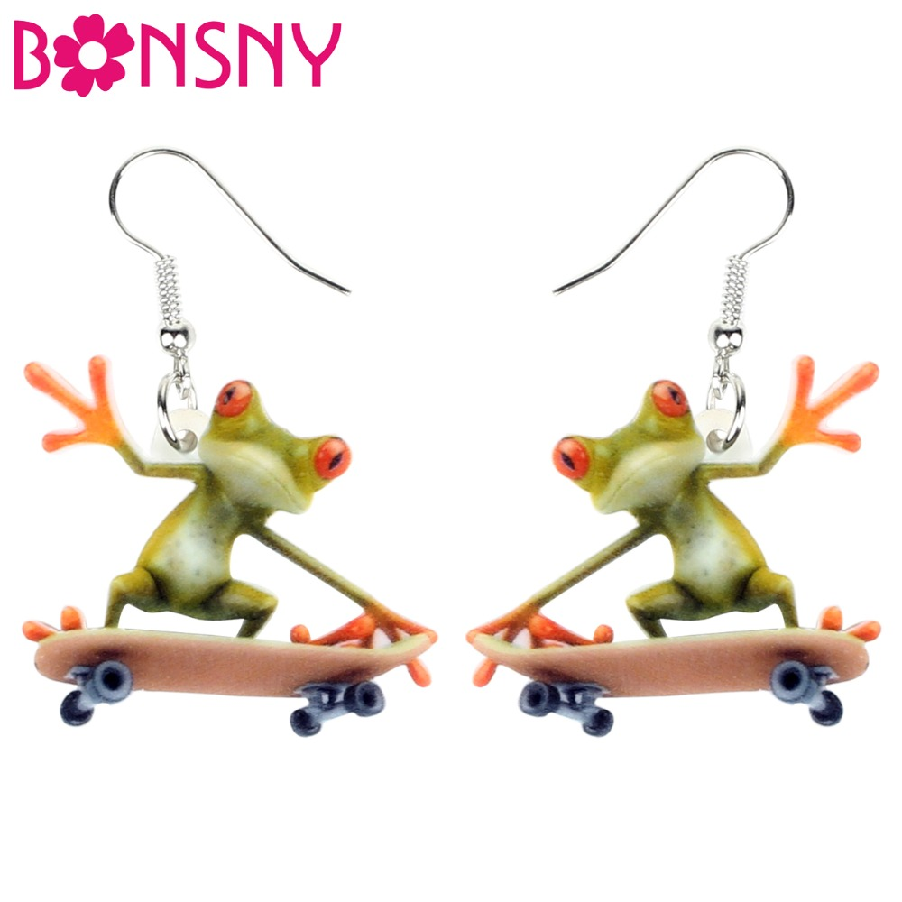 Fast Deliver Bonsny Acrylic Cartoon Skateboard Frog Earrings Drop Dangle Big Long New Fashion Sports Jewelry For Women Girls Teens Wholesale High Quality