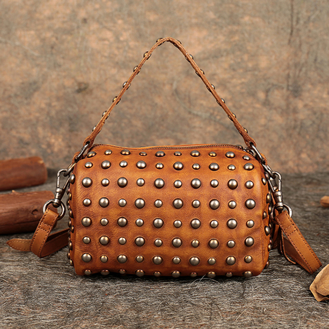 2018 Summer Ladies Boston Handbags Genuine Leather Studded Handbag Shoulder Women Messenger Bags Handmade Cowhide Crossbody