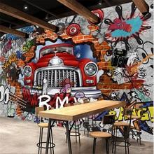 цены beibehang papel de parede para quarto Custom wallpaper  Retro Nostalgic Continental 3D Brick Wall Car Graffiti Large Mural