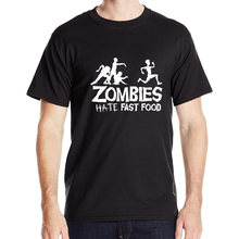 2016 New Brand Mens T Shirts Zombies Hate Fast Food Funny Top Glowing Swag Short Sleeve Cotton Tshirts O Neck