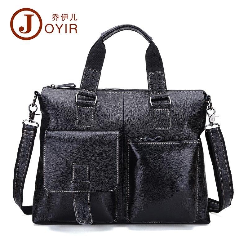 JOYIR New Men Business Genuine Leather Briefcase Multi Pocket Messenger Crossbody Bag Laptop Handbags Shoulder Bag Tote Bag B260