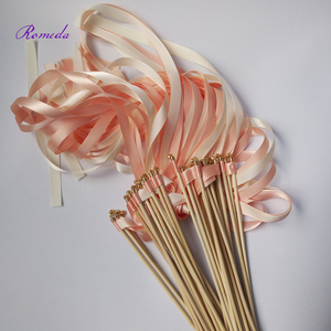 Image 2 - Hot selling 50pcs/lot coral and champagne wedding ribbon wands with gold bell  ribbon Twirling Streamers wedding ribbon stick