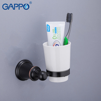 GAPPO Cup Tumbler Holders Wall mount Bathroom Accessories Brass Holder Vintage Cups Toothbrush Tooth Cup Holder Tumbler Holder