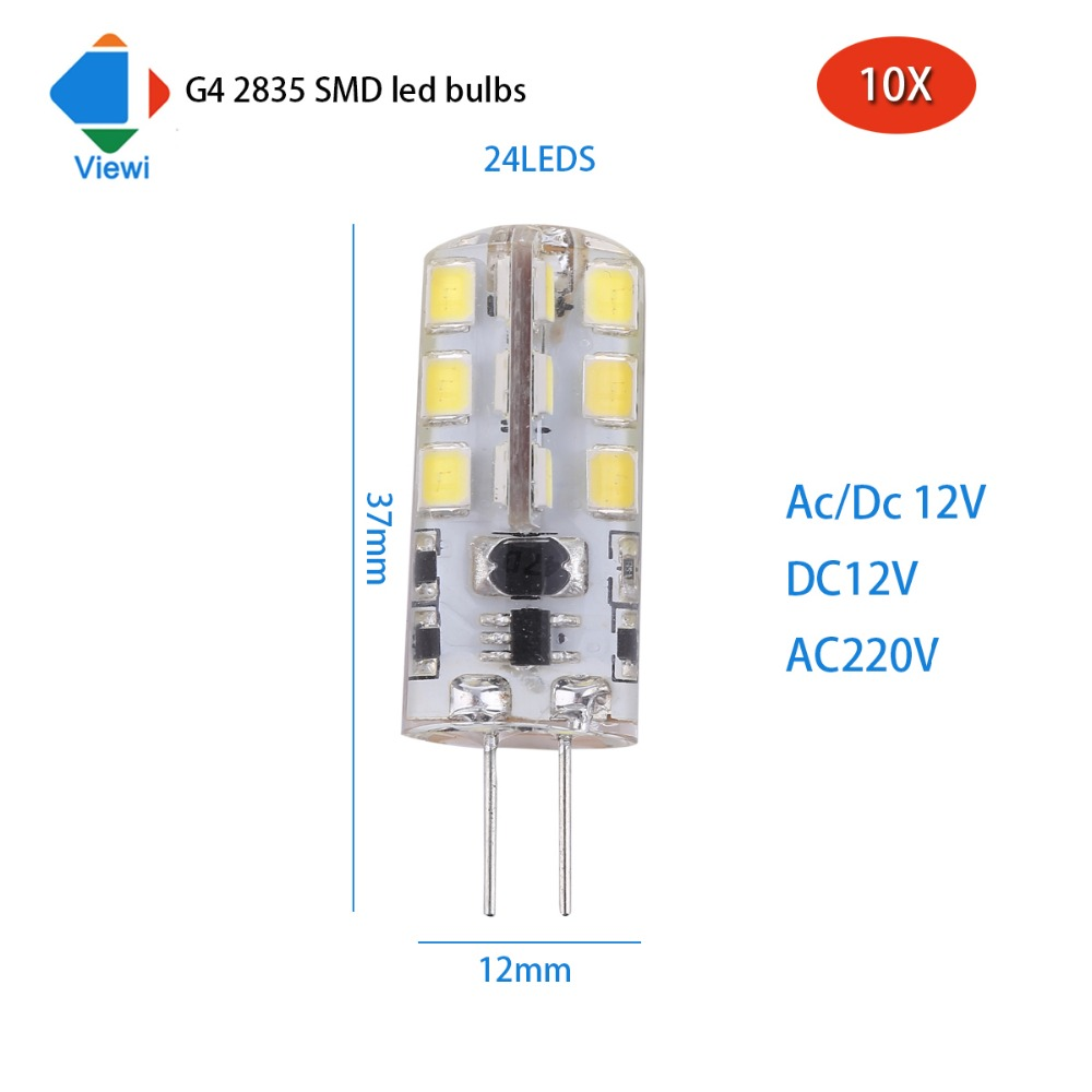 viewi 10x ampolletas g4 led bulb for home acdc 12 volt silicone light bulbs